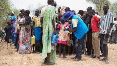 موظفون تابعون لهيئات إغاثية في جنوب السودان أوائل مايو الجاري.