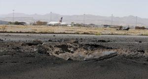 آثار قصف طائرات العدوان لمهبط مطار صنعاء الدولي