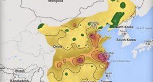 خريطة ترصد خطورة تلوث الهواء فى الصين