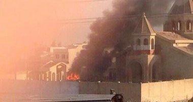 """صورة """"داعش"""" يحرق كنيسة عمرها 1836 سنة فى الموصل بالعراق"""
