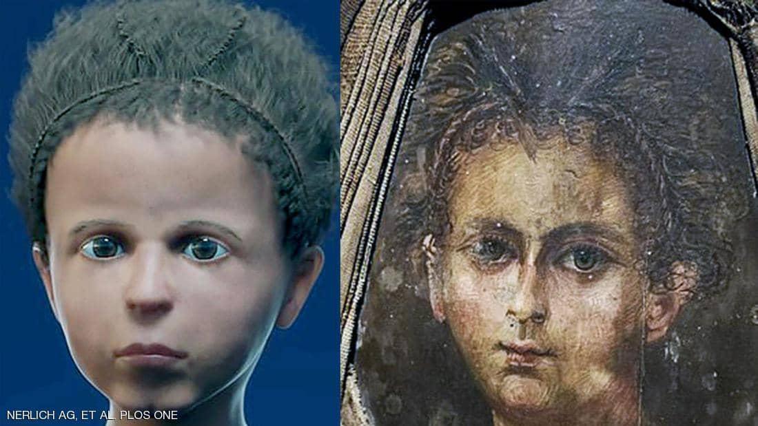 صورة العلماء ينجحون بإعادة بناء وجه مومياء طفل مصري بدقة